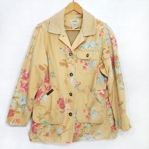 L.L. Bean jacket tan floral barn coat button front